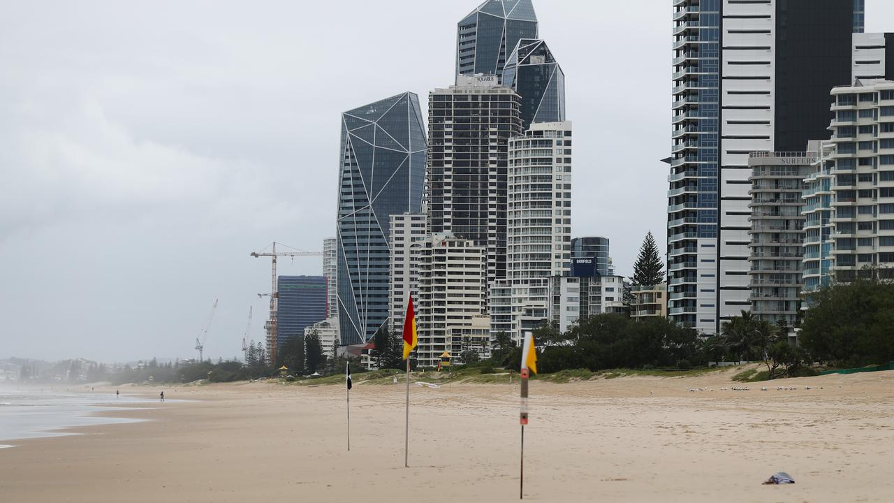 Surfers Paradise is eerily empty amid coronavirus closures. Picture: Chris Hyde/Getty Images