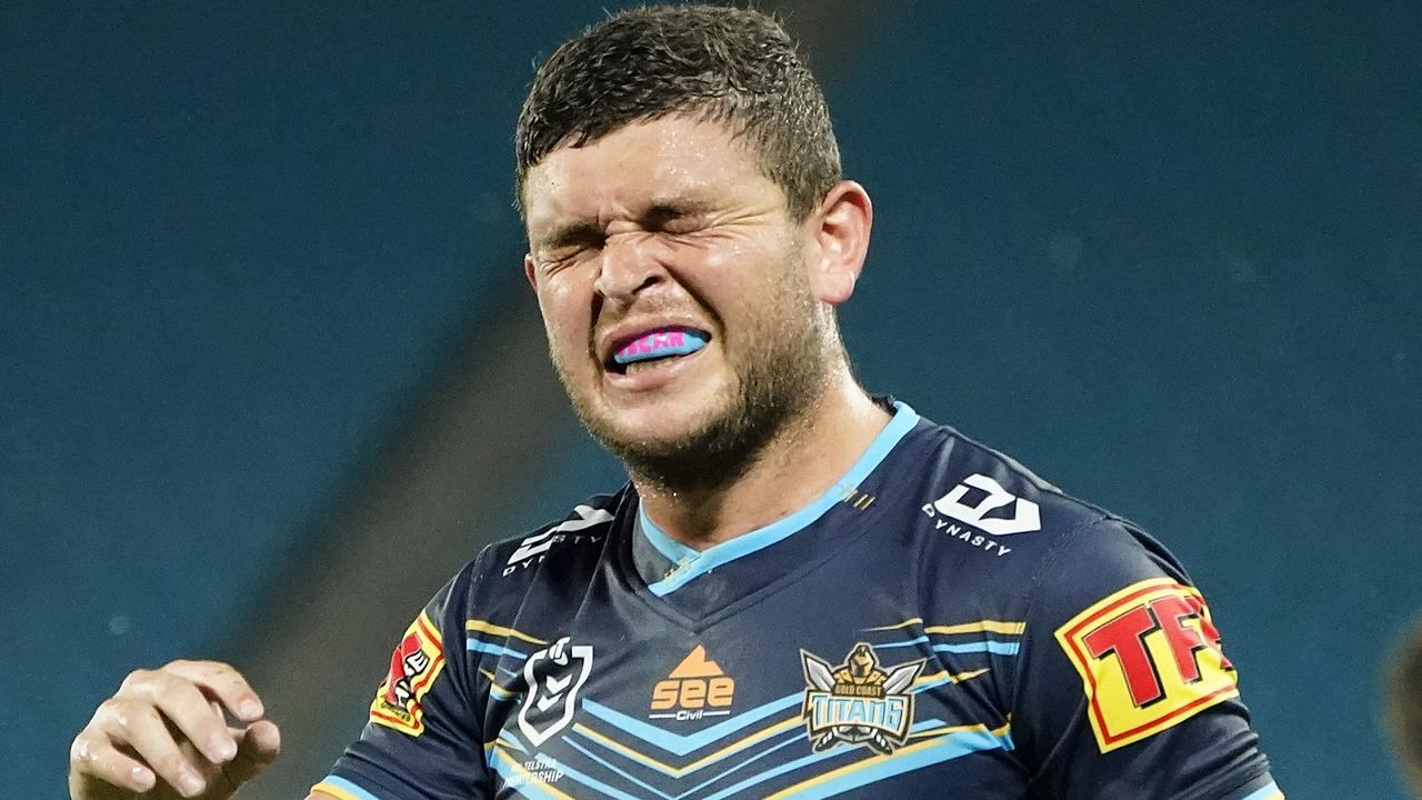Ash Taylor of the Titans reacts during the Round 2 NRL match between the Gold Coast Titans and the Parramatta Eels at CBus Super Stadium on the Gold Coast, Sunday, March 22, 2020. (AAP Image/Dave Hunt) NO ARCHIVING, EDITORIAL USE ONLY