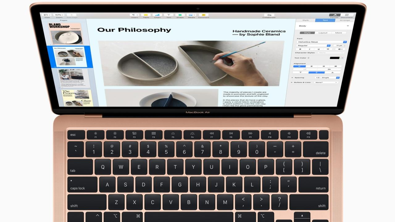 "Apple MacBook Air 2020 features the redesigned ""Magic Keyboard"". Picture: Supplied"