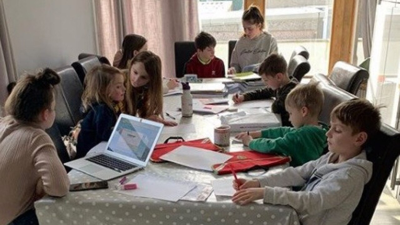 Sue Radford has shared a snap of her homeschooling station for nine of her youngest kids