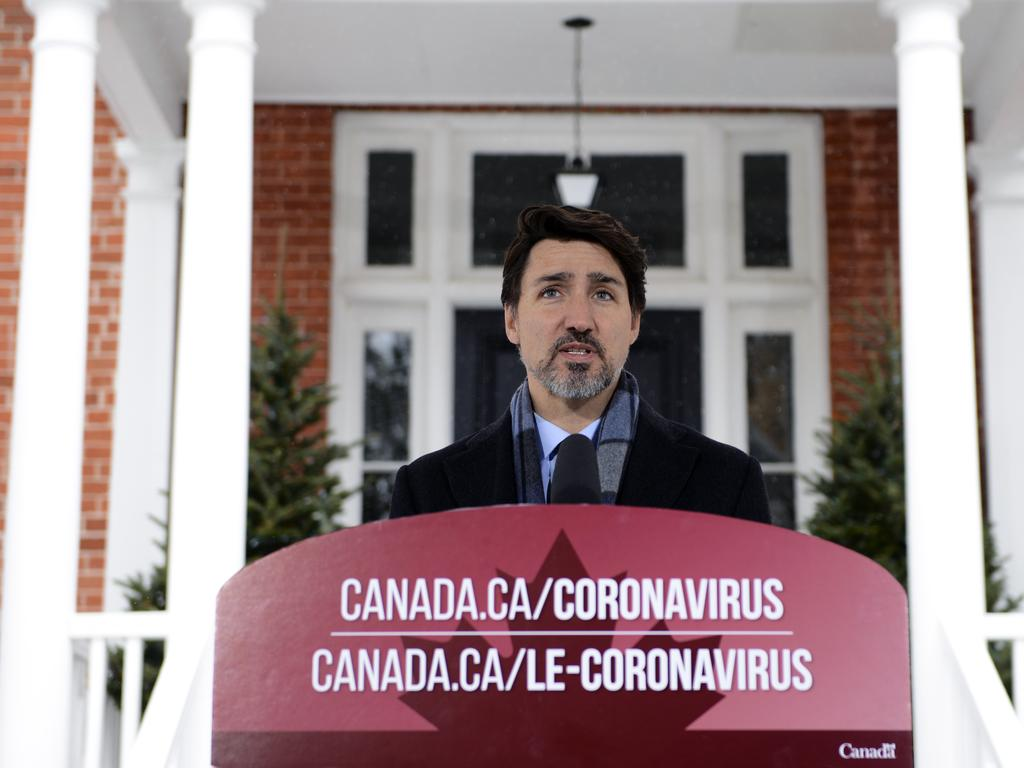 Prime Minister Justin Trudeau addresses Canadians on the COVID-19 situation from Rideau Cottage in Ottawa.