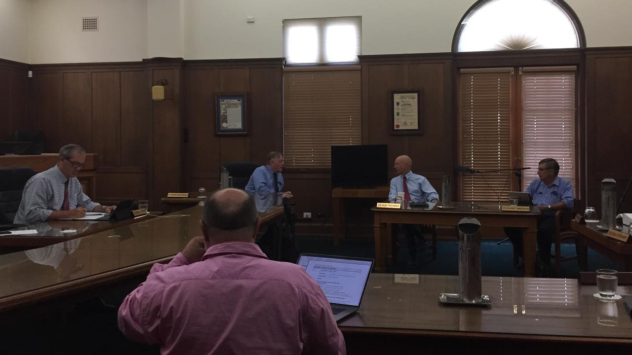 Mayor Mick Curran, Mark McDonald, Bob Fredman and Hilary Smerdon meet under COVID-19 social distancing rules.