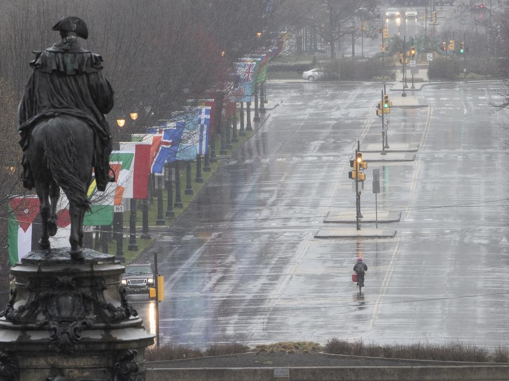 Philadelphia, like cities around the world, is empty as people stay home and use the internet. Picture: AP