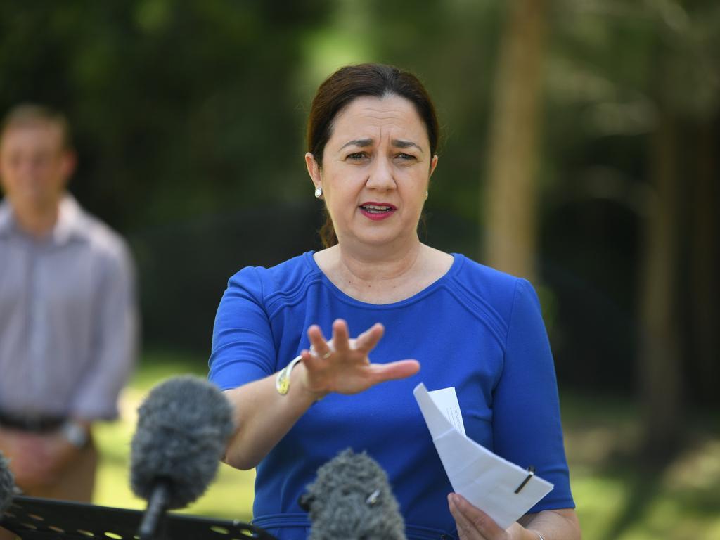 Premier Annastacia Palaszczuk talks at the press conference.