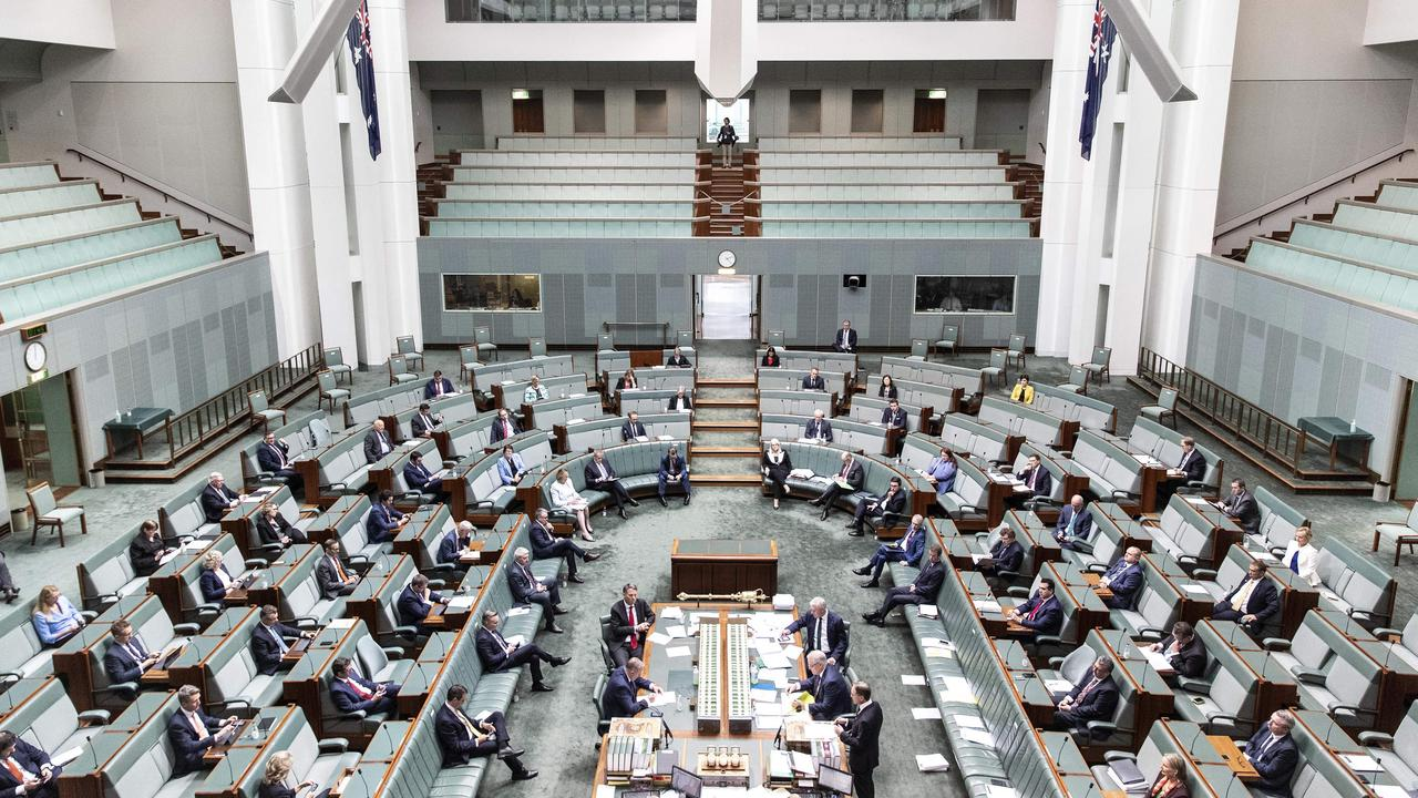 In response to the COVID19 virus a smaller group of Federal MP's were present in the chamber during Question Time in the House of Representatives at Parliament House in Canberra. Picture Gary Ramage
