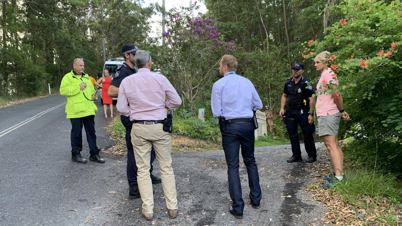 Emergency services outside the Tallebudgera Valley home. Photo: Greg Stolz