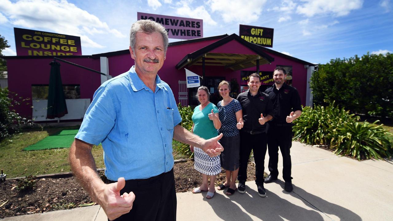Staying alive – Owner of Homewares From Everywhere Trevor Bruckner with family (L) Jan Bruckner, Monique Pascoe, Luke Pascoe and Trent Bruckner. Photo: Cody Fox