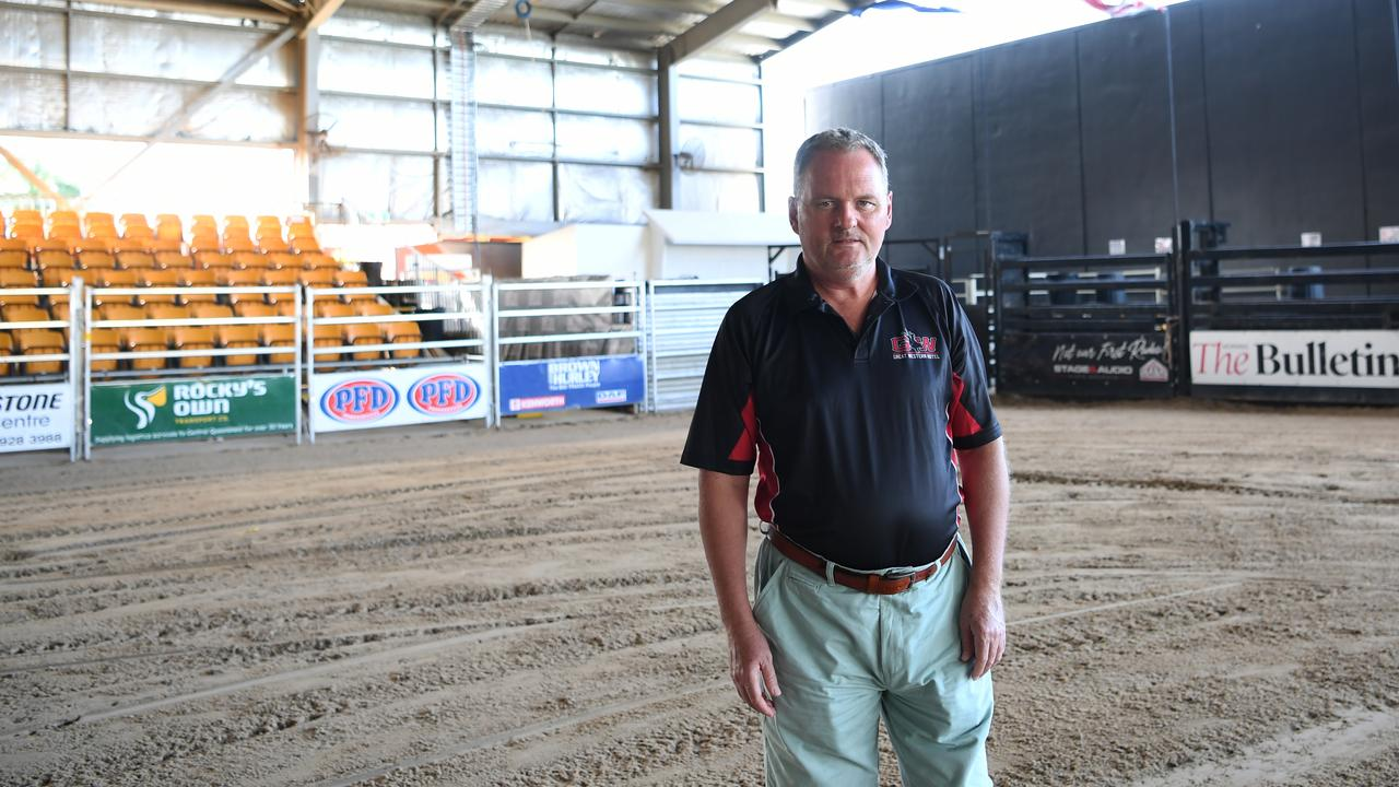 ROUGH RIDE: Denis Cox stands in the empty arena at The Great Western Hotel. Photo Allan Reinikka.