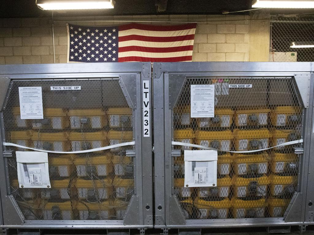 Cages of ventilators at the New York City Emergency Management Warehouse. Picture: AP