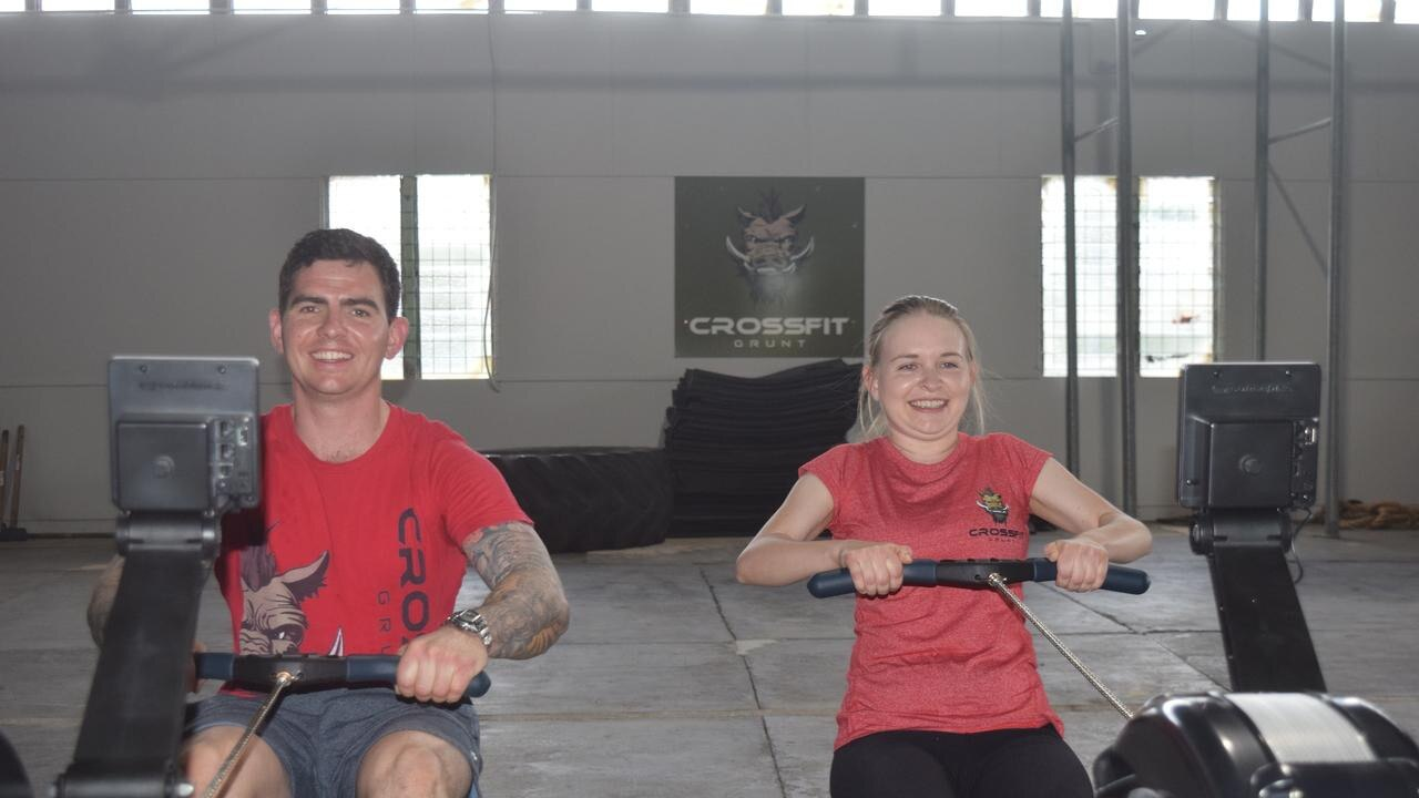ROW ROW: Shane and Roanne Beahan from Crossfit Grunt have devised an online program to keep engaging with members while their doors remain shut.