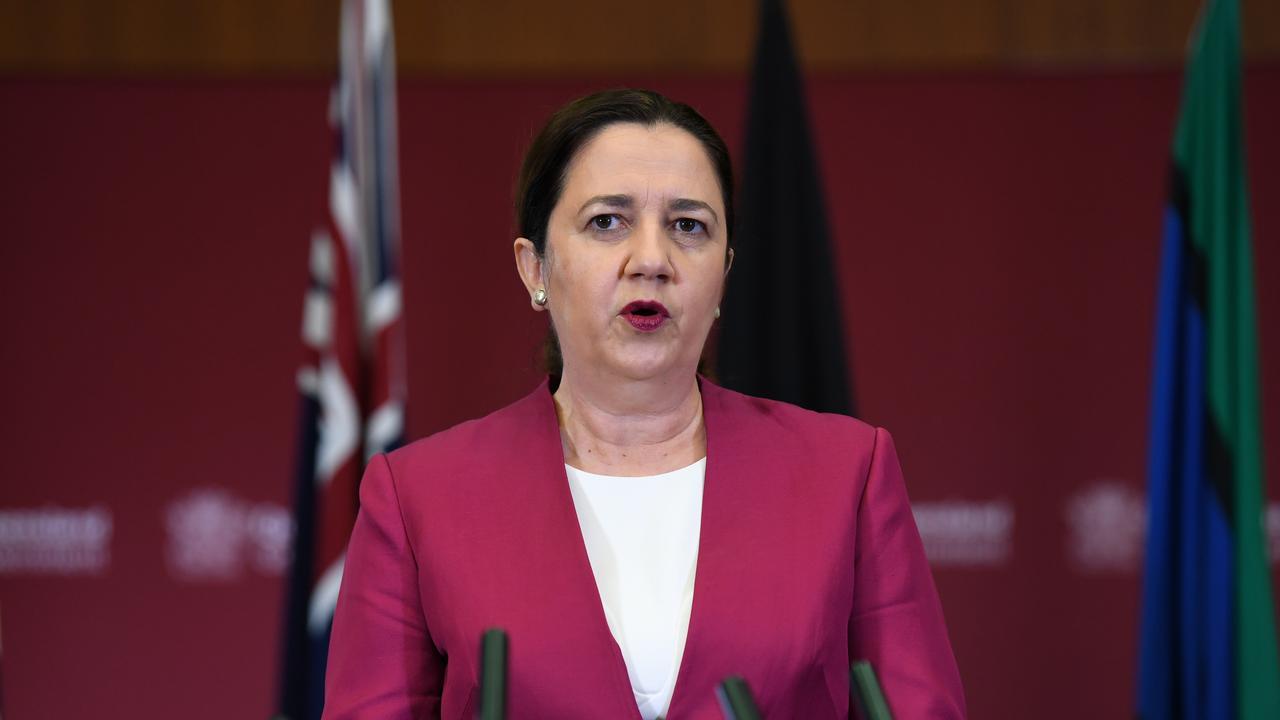 Queensland Premier Annastacia Palaszczuk at a press conference at Parliament House in Brisbane.