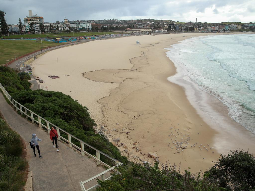 A quiet Bondi Beach, which has been shut down amid coronavirus fears. Picture: Justin Lloyd