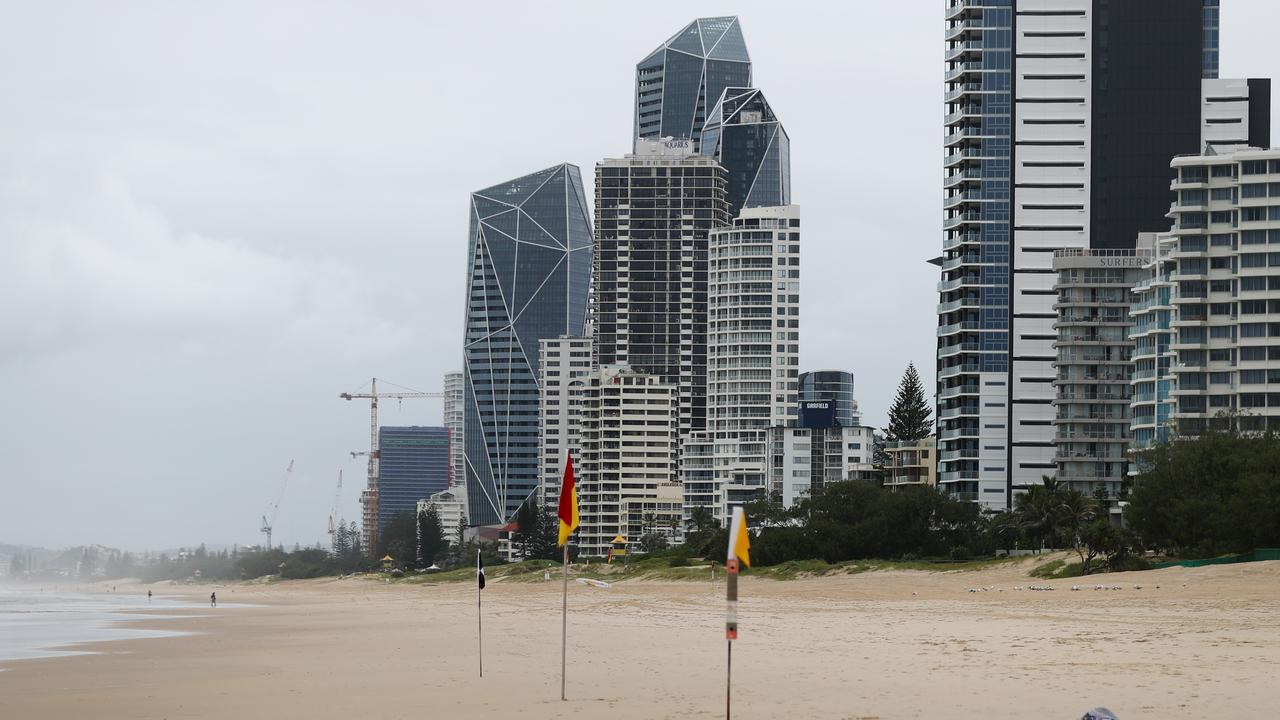 An empty Surfers Paradise, on the Gold Coast, during COVID-19 restrictions. Photo: Chris Hyde, Getty Images.