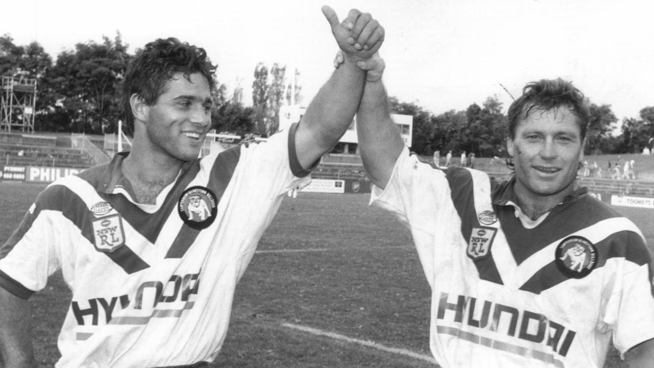 Canterbury Bulldogs and former Ipswich halfback Craig Polla-Mounter with club great Terry Lamb.