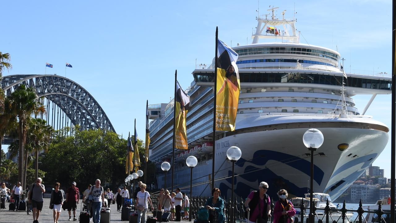 Cruise ship passengers disembark from the Princess Cruises-owned Ruby Princess at Circular Quay in Sydney last Thursday. Picture: AAP Image/Dean Lewins