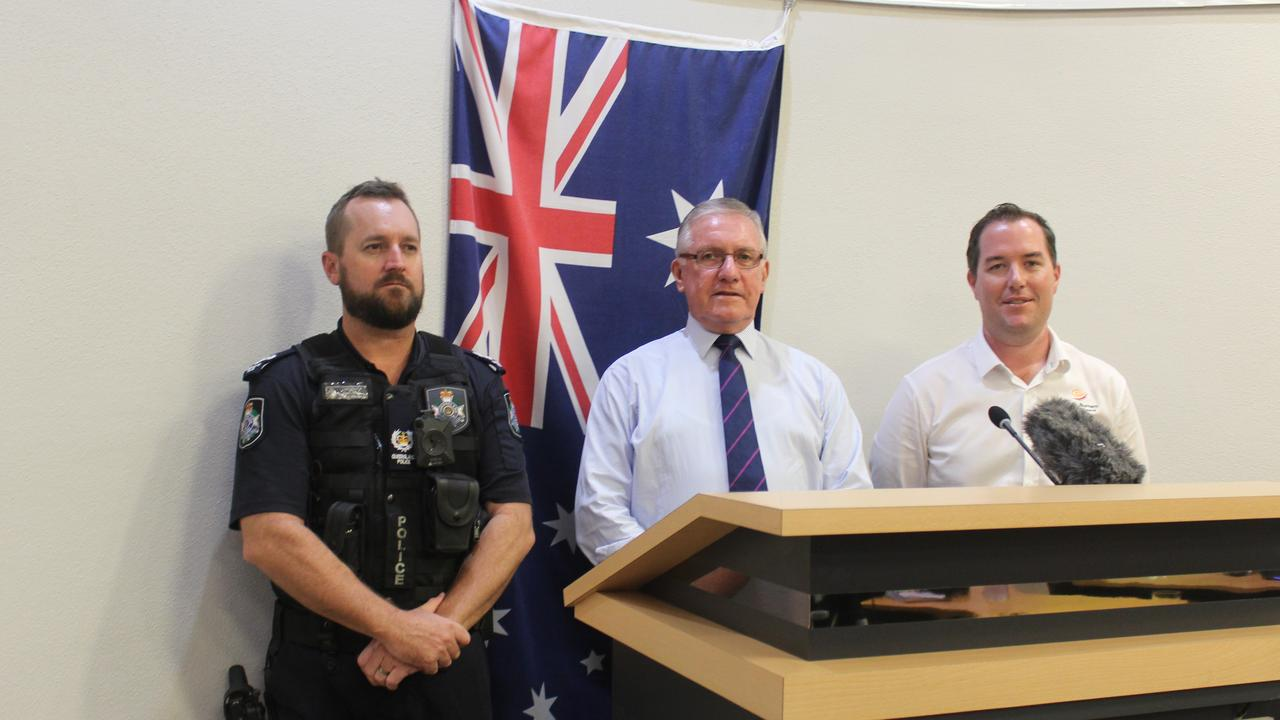 Acting officer in charge at Kingaroy Police Station Sean Relf with Mayor Keith Campbell and General Manager of Infrastructure at SBRC Aaron Meehan at the press conference. Photo: Laura Blackmore