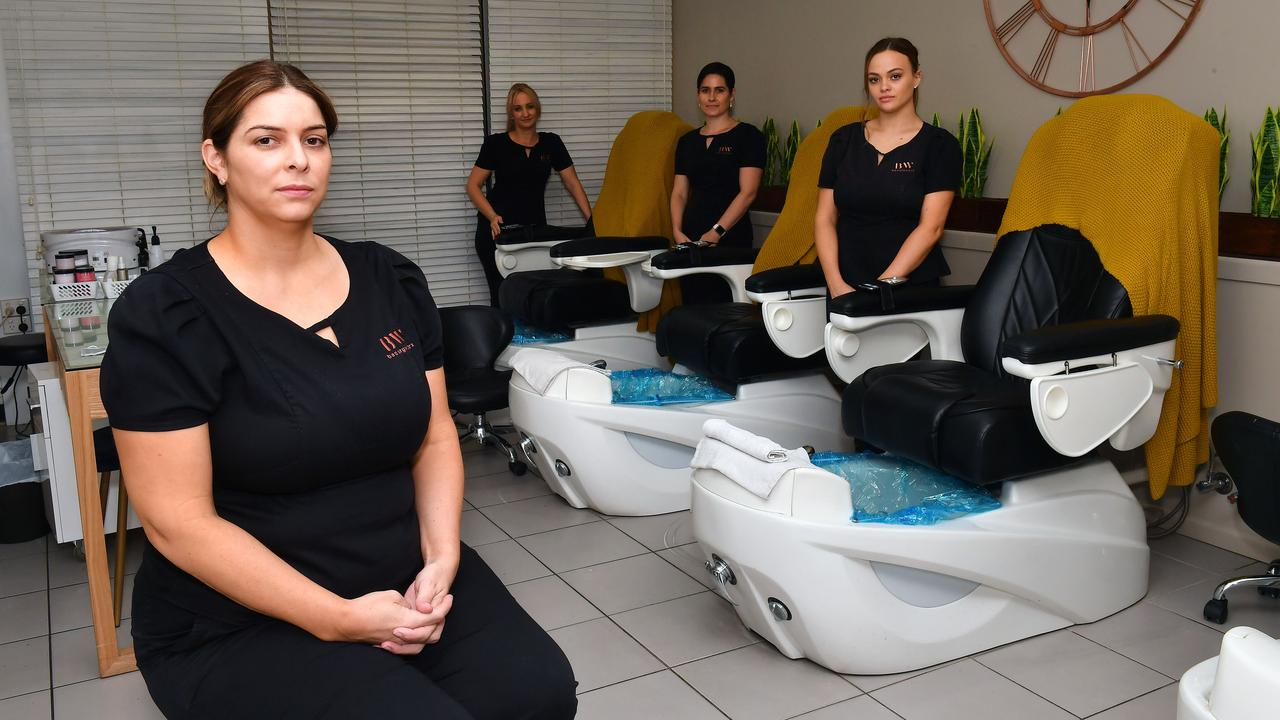 Owner of Beauty Worx Bonnie Waldon with some of her staff, Naomi Condon, Nadine Crawley and Tamika Coyne, are closing their doors. Picture: Tony Martin