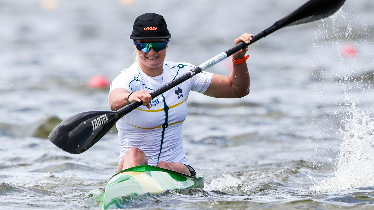 AWESOME: Alyssa Bull on the charge during a regatta. Picture: Paddle Australia.