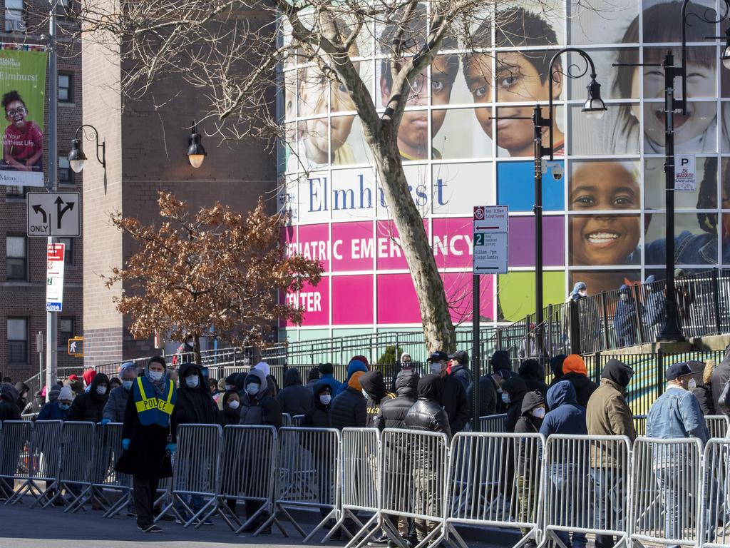 People line up outside Elmhurst Hospital in New York to be tested for the coronavirus Picture: AP