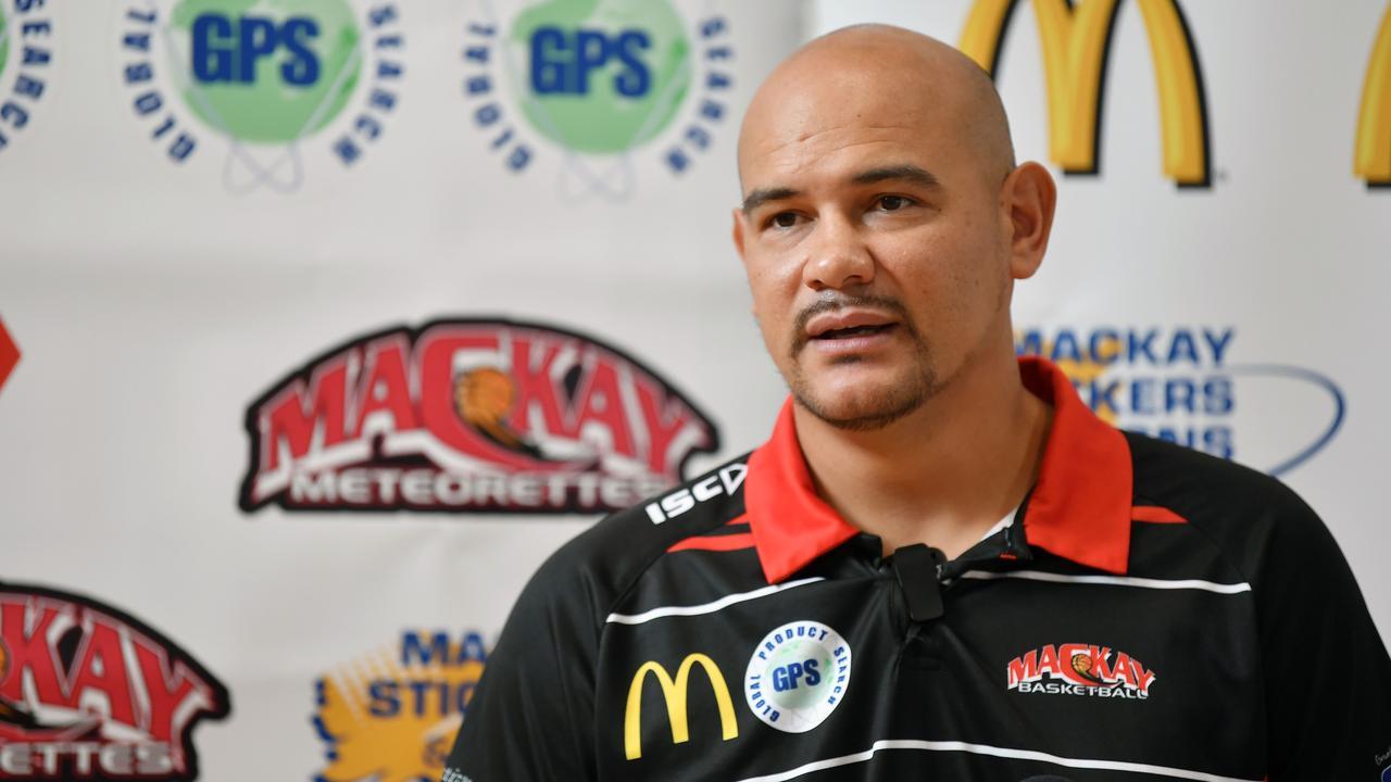 Mackay Meteors coach Joel Khalu speaking at Mackay Multisports Stadium today. Picture: Tony Martin