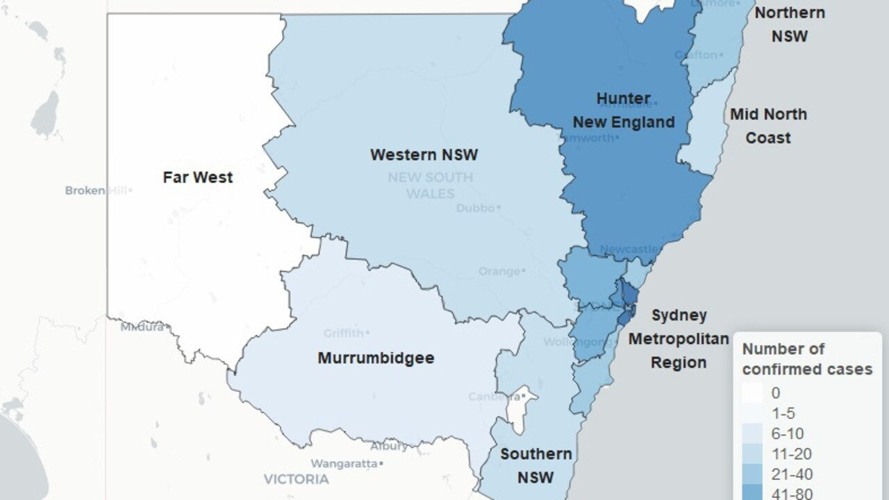 Map of confirmed COVID-19 cases in NSW. Picture: NSW Health