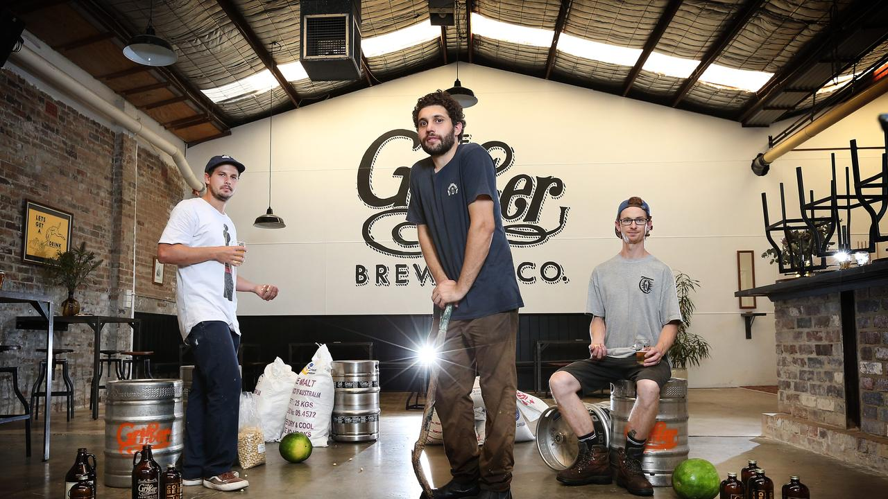 Matt King (middle) at Grifter Brewing Co Picture: Richard Dobson
