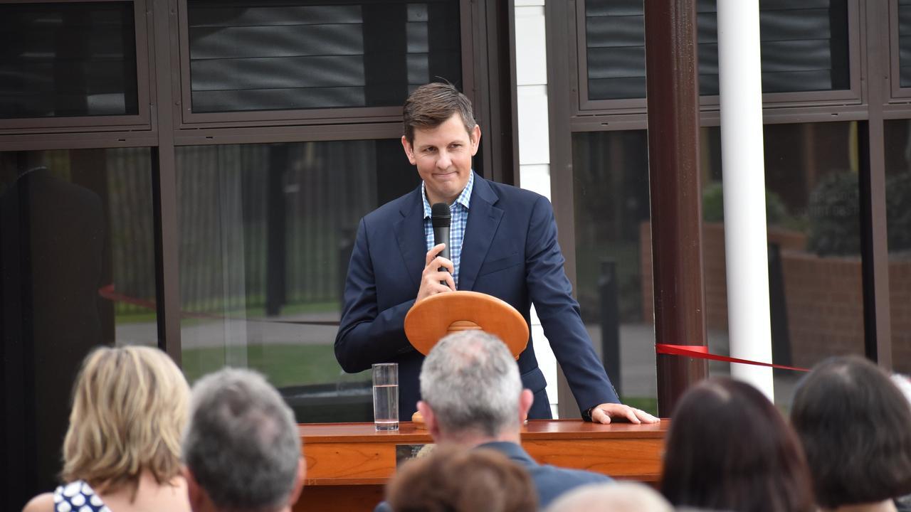 Duncan McKimm opens the ceremony at Dougherty Villa