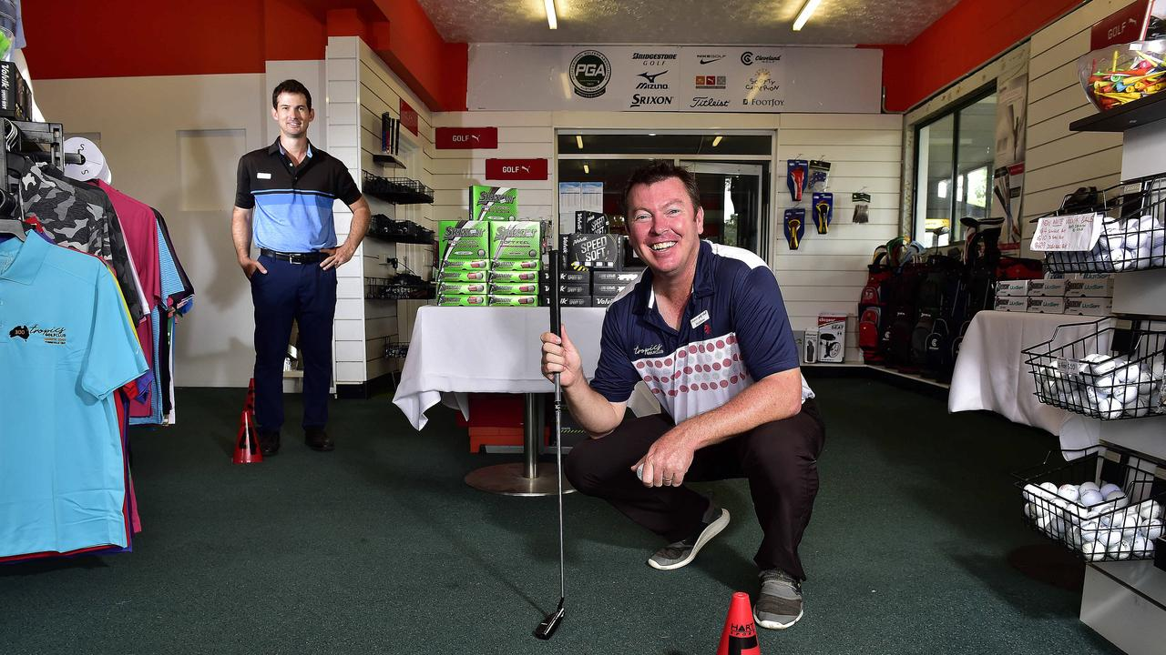 Tropics Golf Club general manager Matt Duke and head professional Daniel Gawley showing the club's new social distancing measures in their pro shop as courses are opened to the public during the Covid-19 outbreak. Customers in the shop must be stationed at each cone when queuing. PICTURE: MATT TAYLOR.
