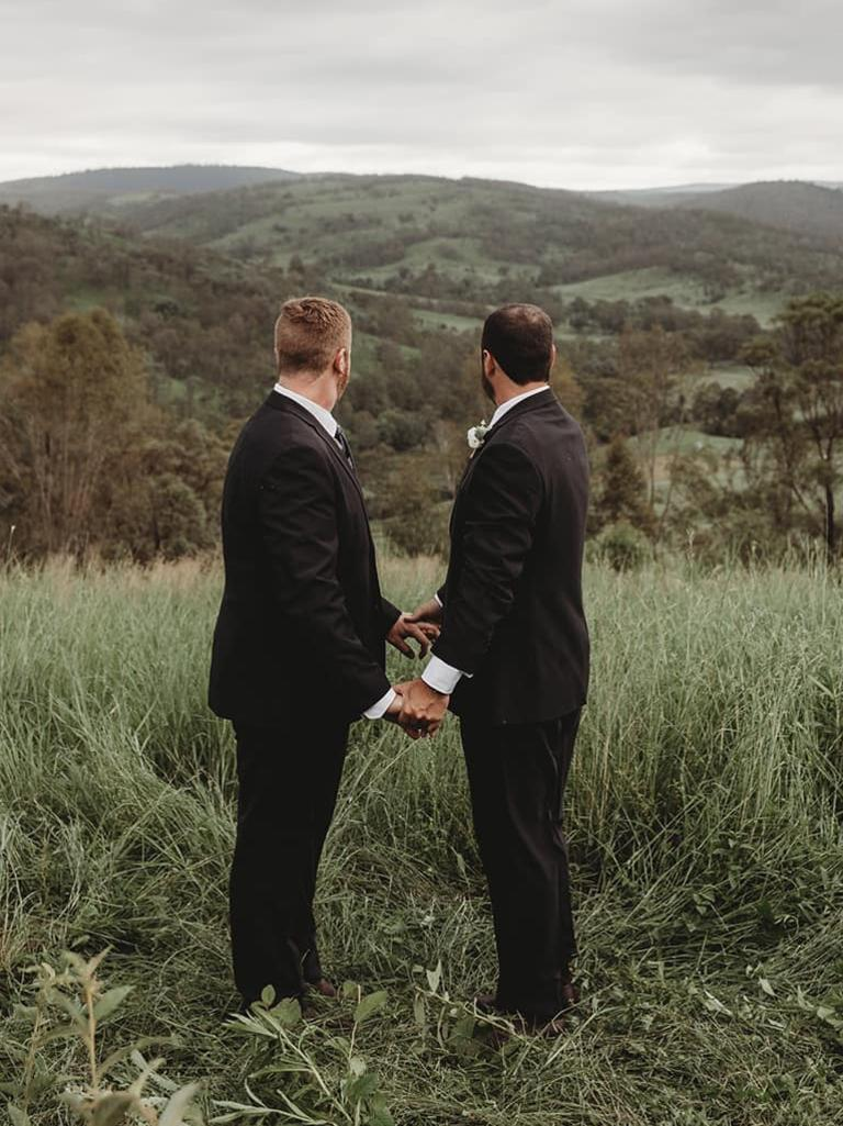 Adam and Rupert on their property near Moore the day of their wedding. Photo: Tessa Cox Photography.