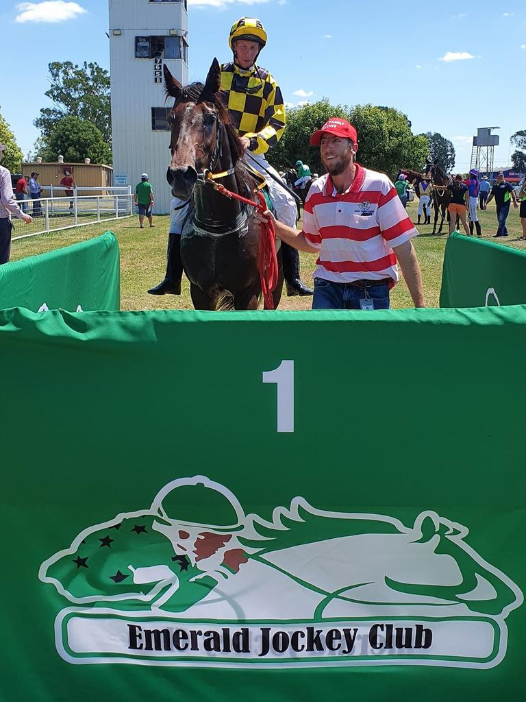 Paper Talk with Lachlan Vagg and jockey Chris McIver in the winner's circle.
