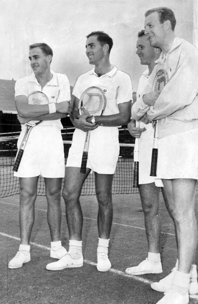 Members of the Australian tennis team (L-R): John Newcombe, Bob Hewitt, Ken Fletcher and Fred Stolle in a 1961 photo. Picture: Supplied