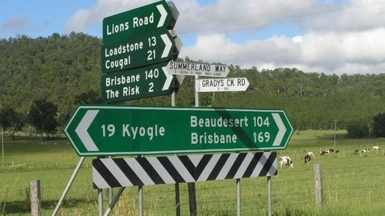 Lions Rd in Kyogle Shire is closed at the Queensland border.