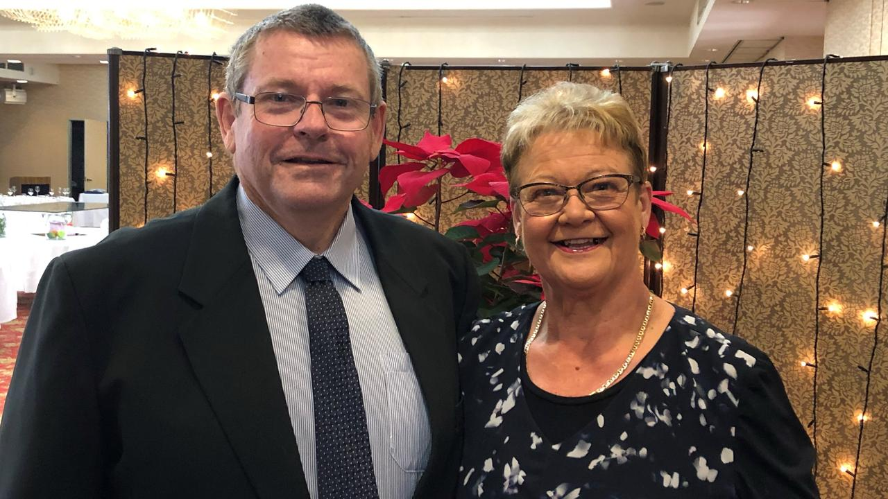 John May with his wife Karen May. John was stabbed in a terrifying assault while driving his limousine on March 6 at Sarina.