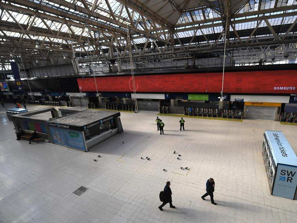 One of London's busiest transport hubs, Waterloo Station, is virtually deserted as the UK remains in lockdown. Picture: Getty Images
