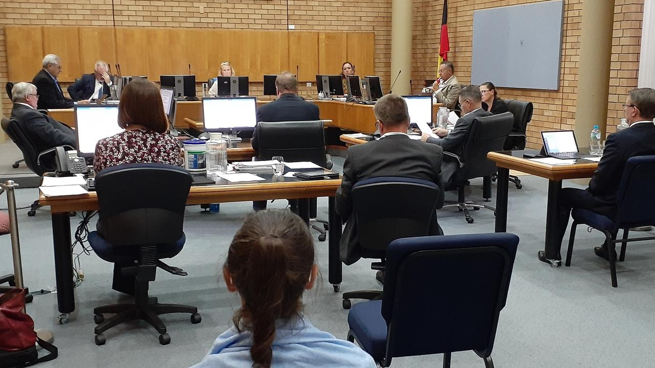 Coffs Harbour City Councillors and senior staff at tonight's meeting spread out around the chambers as per social distancing requirements to reduce the spread of COVID-19. Members of the public were excluded.