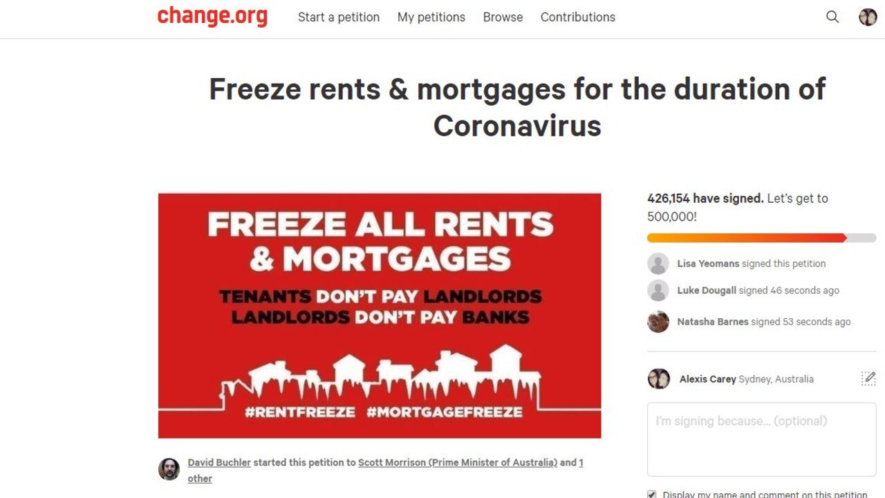 Australians are calling for rent and mortgages to be frozen as the coronavirus rages.
