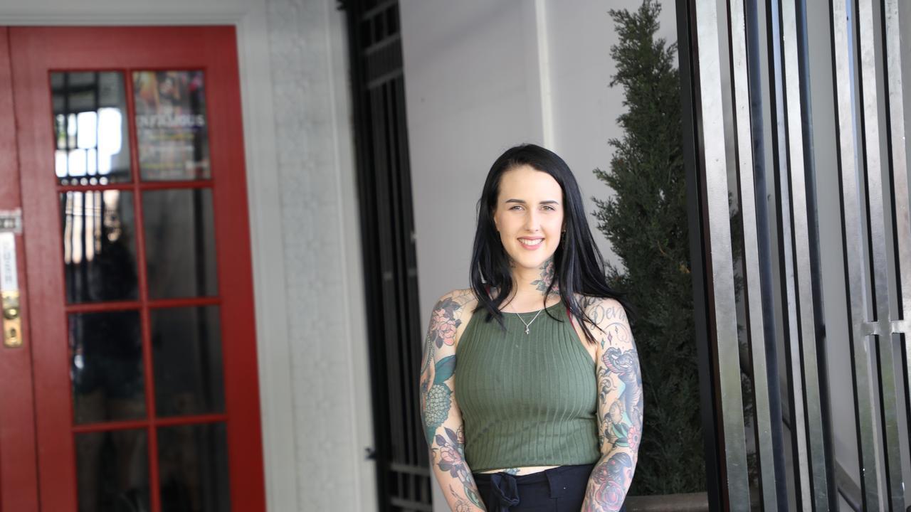 Haylee Cottee outside her Rockhampton CBD studio.