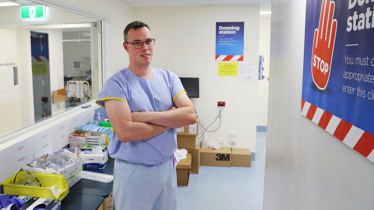 Intensive Care Specialist Dr Tim Southwood in the Red COVID-19 ICU. He is at the donning station before entering. Picture: Rohan Kelly