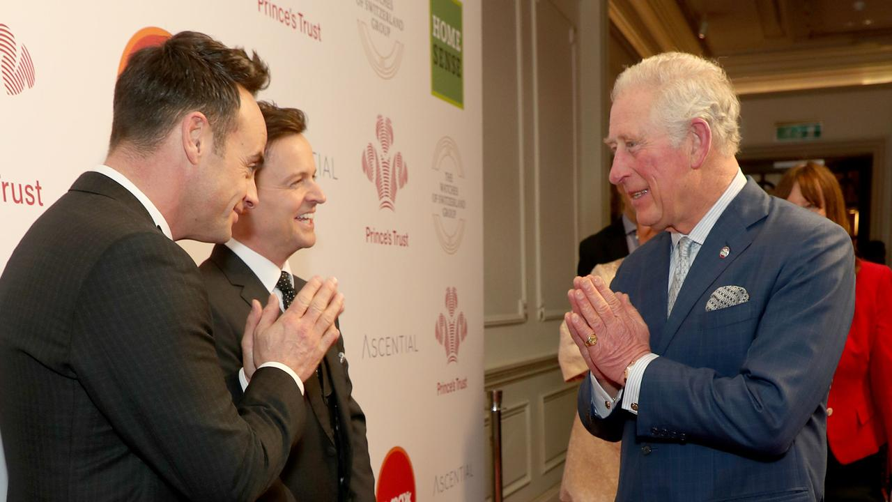 Charles used the namaste gesture to greet television presenters Ant and Dec at the March 11 event. Picture: Yui Mok/WPA Pool/Getty Images
