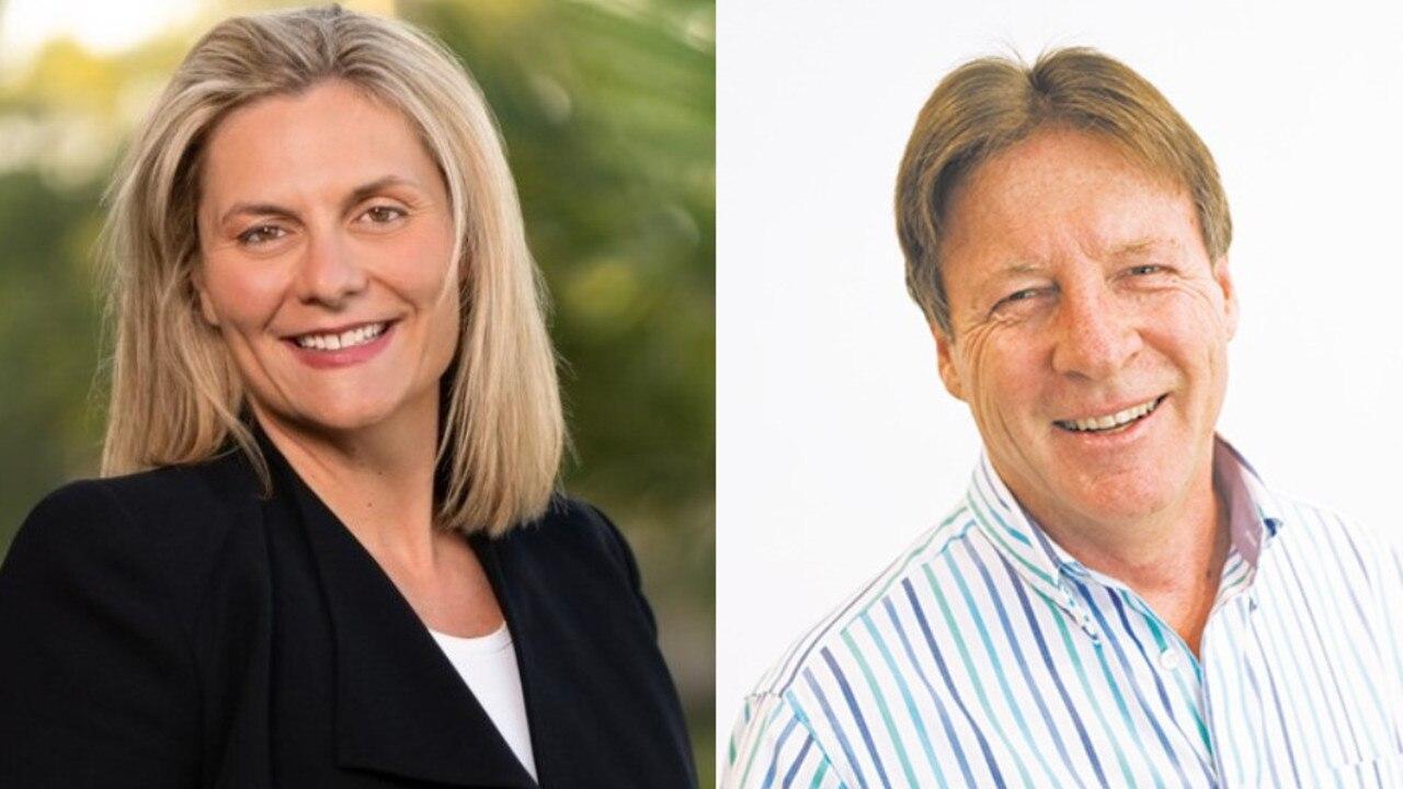 Mayoral candidate Clare Stewart and Mayor Tony Wellington.