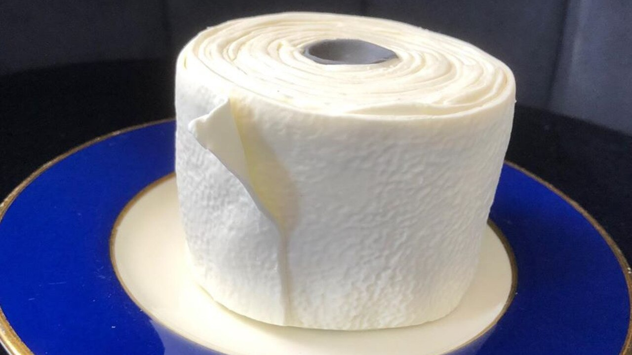 This toilet paper cake is delicious.