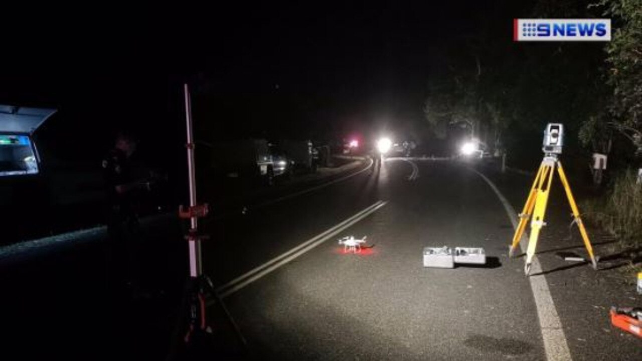 The scene of a serious crash involving a police car at Mapleton last night. Picture: 9 News/Twitter