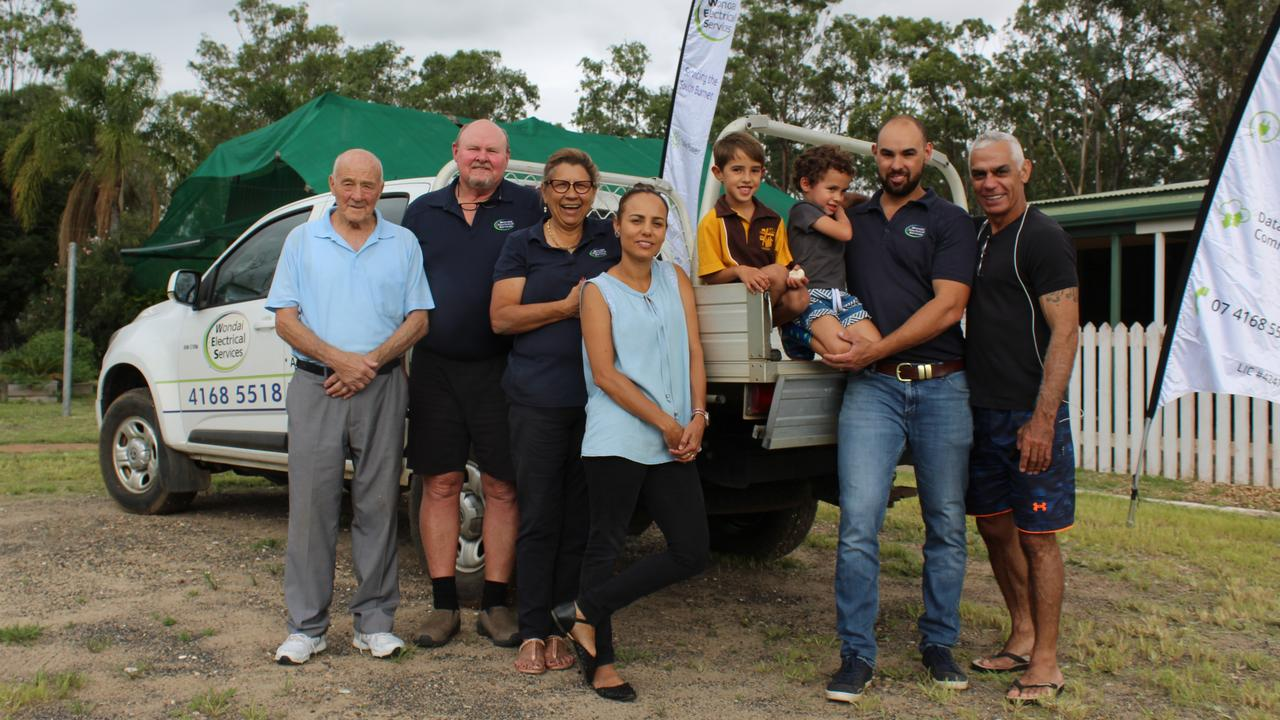FAMILY FIRST: Kevin, Mark, Elaine, Sherree, Olly, Harley and Daley Raffin with Sherree's father Pete Wilson at their new depot at Kingaroy. Photo: Laura Blackmore