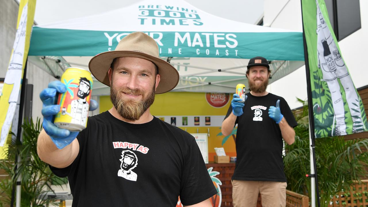 Partners Matt Hepburn (foreground) and Christian McGarry of Your Mates Brewery have introduced a drive-in service for customers. Photo: Patrick Woods