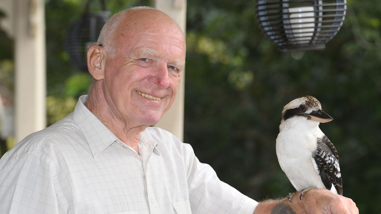 Stan Preece with a kookaburra at his Southside home this week. Photo: Shane Zahner