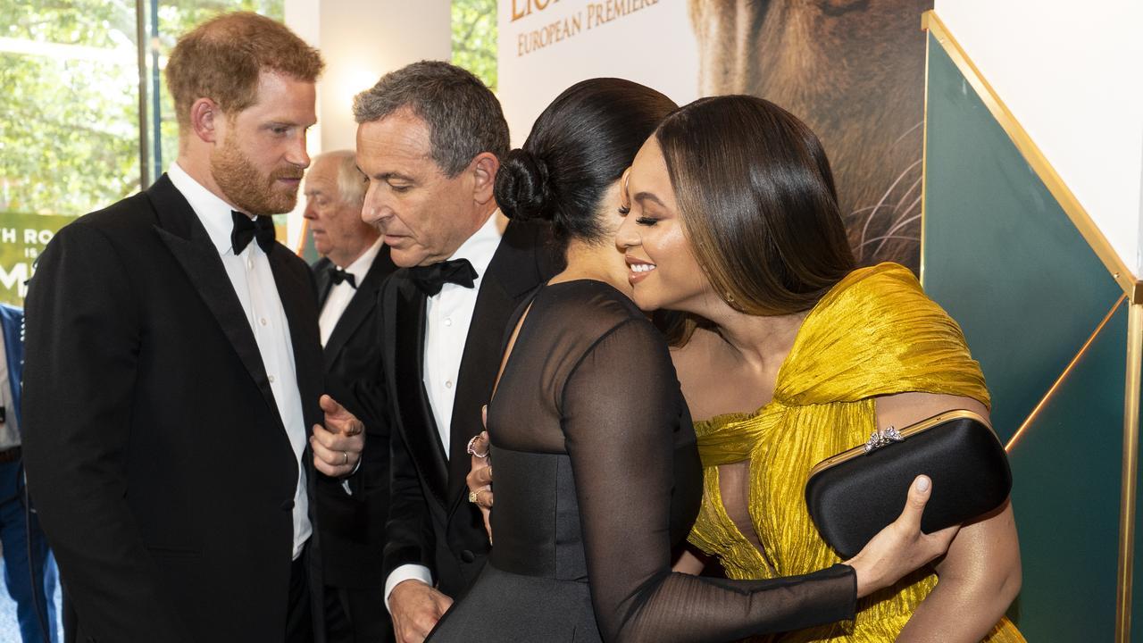 Meghan and Beyonce were seen hugging as they spoke. Picture: Niklas Halle'n/AFP