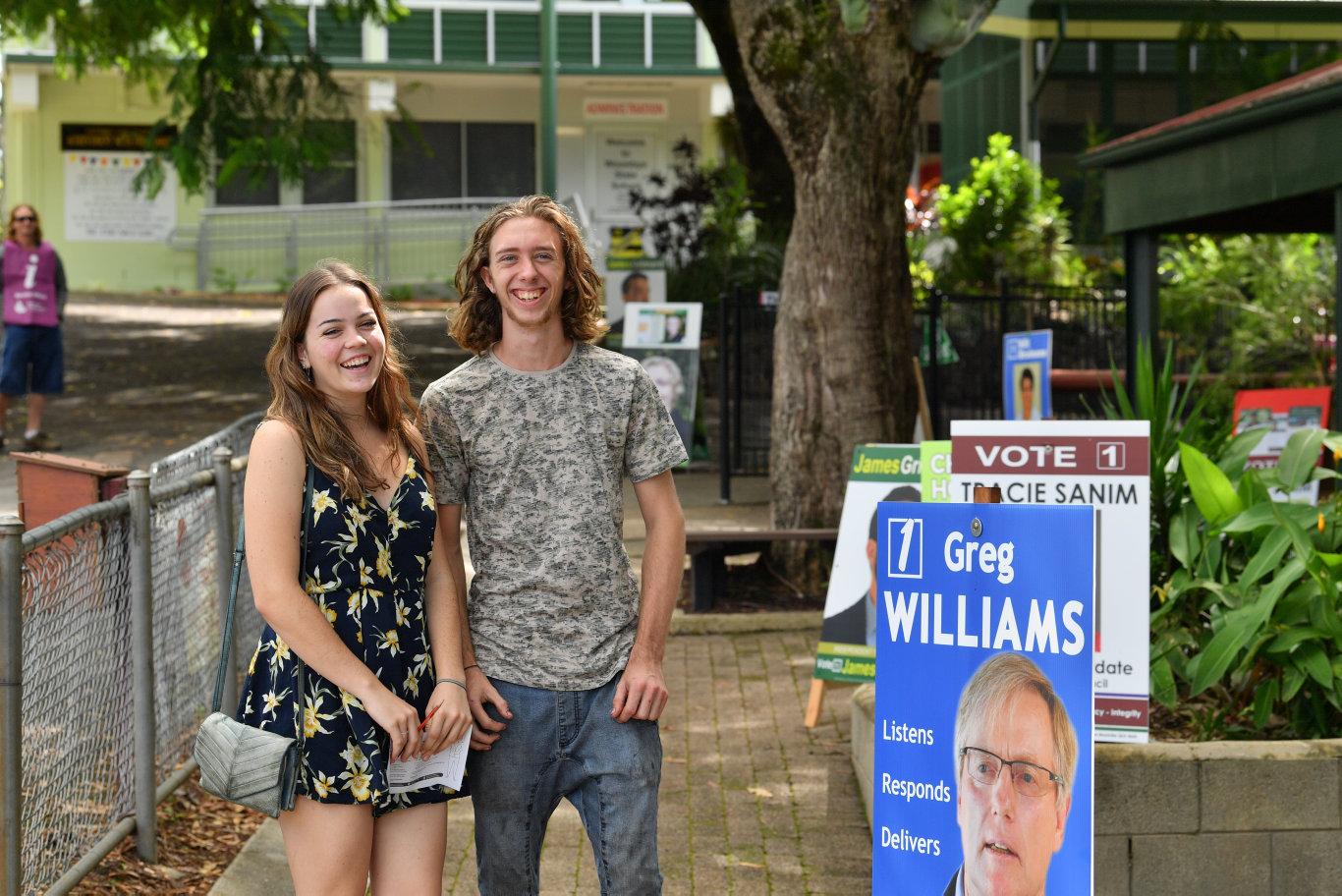 Polling at Woombye State School. Nicole Byford and Aaron Bundesen. Photo: John McCutcheon / Sunshine Coast Daily