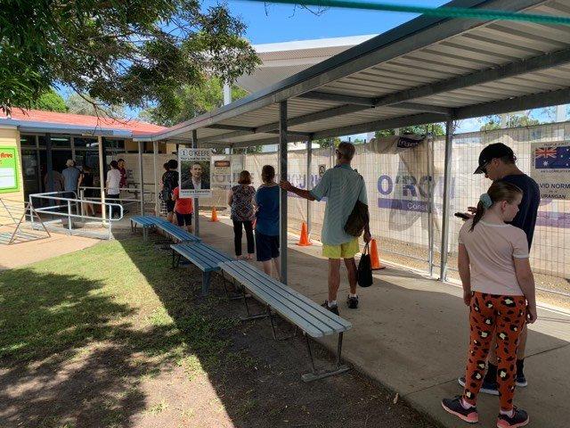 The line at Urangan Point School