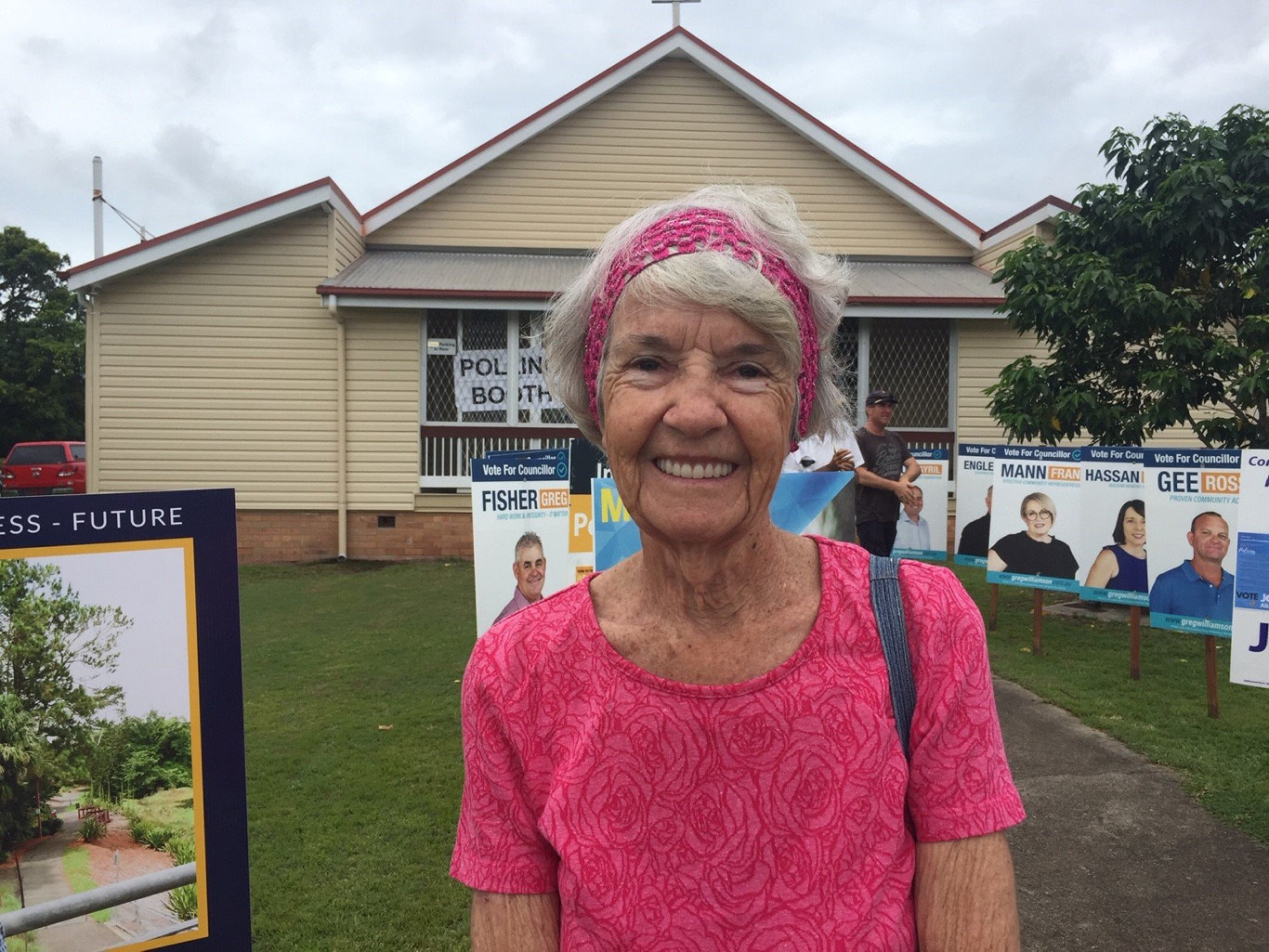 Sarina resident Glenys McCrone voting in the 2020 Mackay Regional Council election.