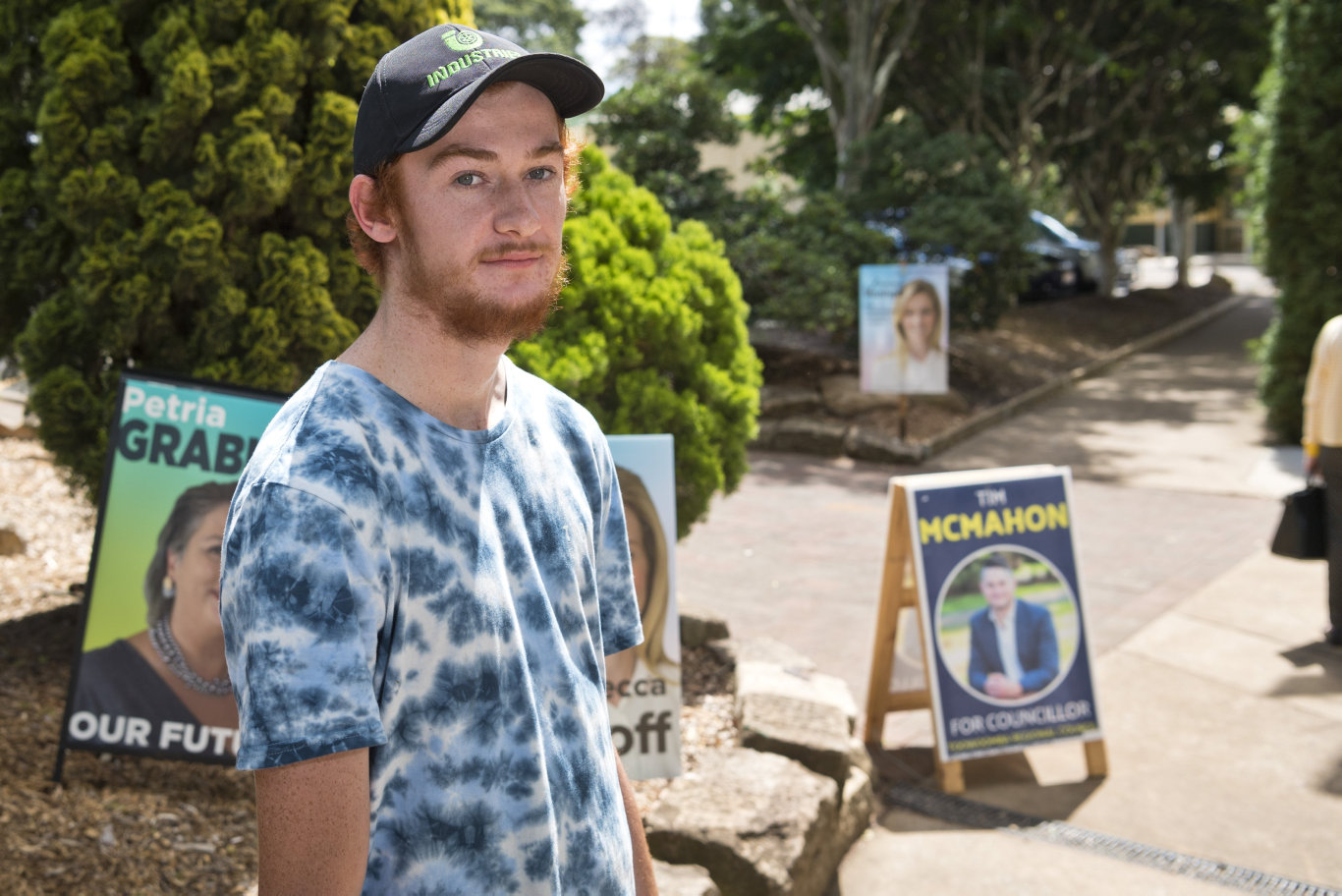 Travis Wakefield after voting in the Toowoomba Regional Council local government election at Centenary Heights State High School polling booth, Saturday, March 28, 2020. Picture: Kevin Farmer